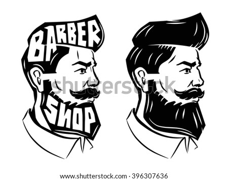 vector black men with beard icon on white background