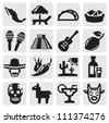 vector black mexican icons set on gray - stock vector
