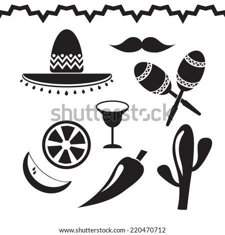 Vector black Mexico icons set on white background - stock vector