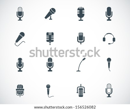 Vector black  microphone  icons set - stock vector
