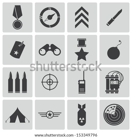 Vector black  military icons set - stock vector