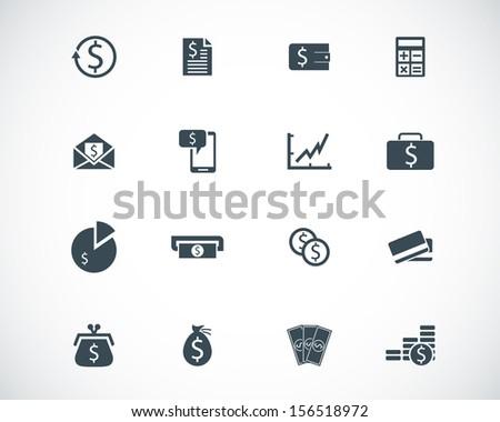 Vector black  money icons set - stock vector