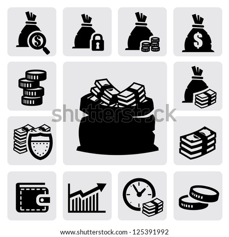 vector black money icons set on gray - stock vector