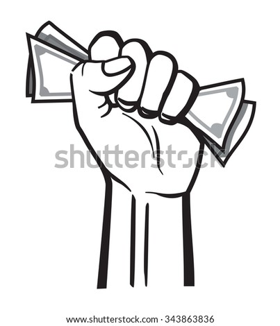 vector black money in hand icon on white background - stock vector
