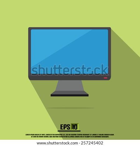Vector Black Monitor With Green Background And Long Shadow - stock vector