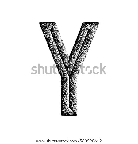 vector black monochrome vintage ink hand drawn dot work retro tattoo style engraving volumetric letter Y isolated white background