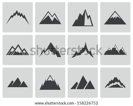 Vector black mountains icons set - stock vector