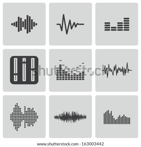 Vector black music soundwave icons set white background - stock vector