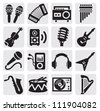 vector black musical instruments icons set on gray - stock vector