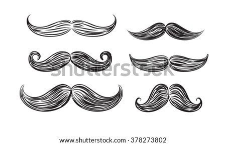 vector black mustache icons on white background