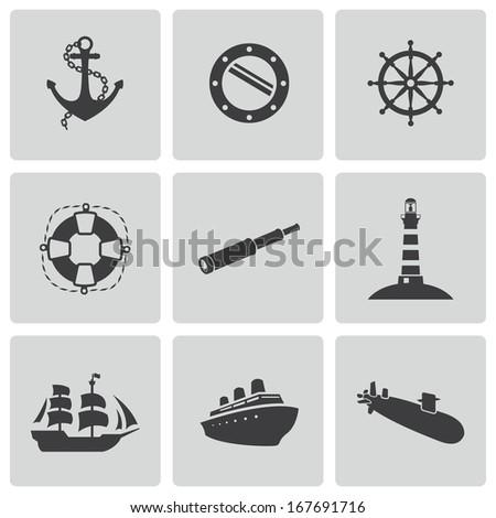 Vector black nautical icons set white background - stock vector