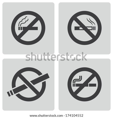 Vector black no smoking icons set on white background - stock vector