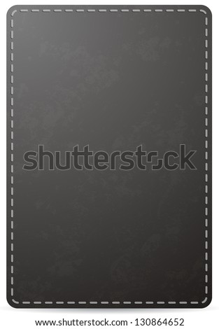 Vector black notebook cover page with leather texture, isolated on white background - stock vector