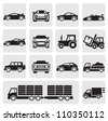 vector black of transport icons set on gray - stock vector