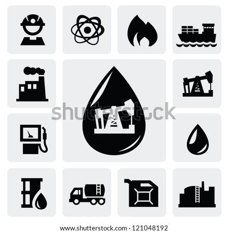 vector black oil icons set on gary - stock vector