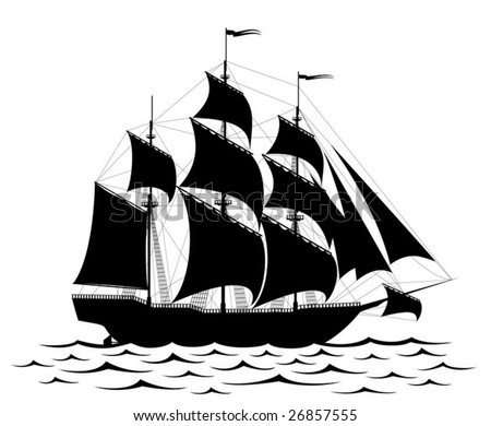 Vector - Black old ship and waves isolated on white (all parts of the illustration could be easy modified) - stock vector