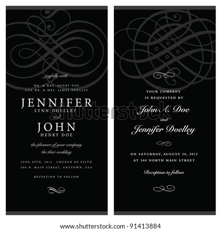Vector Black Ornate Frame Set. Easy to edit. Perfect for invitations or announcements. - stock vector