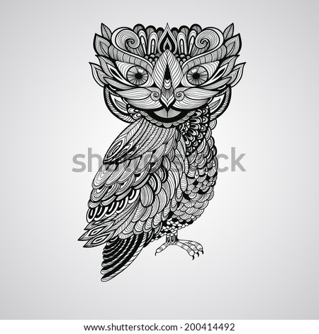 Vector Black  Owl, Tattoo Style - stock vector