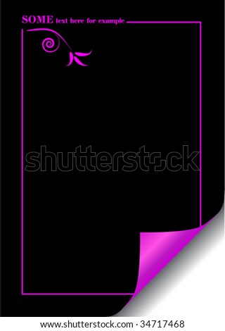 vector black paper with realistic page curl and space for image or text - stock vector