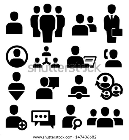 Vector black people icons set - stock vector