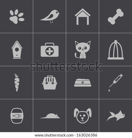 Vector black  pet icons set - stock vector
