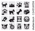 vector black pets icons set on gray - stock vector