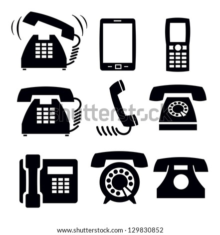 vector black phone icons set on white - stock vector