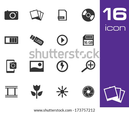 Vector black photo icon set on white background - stock vector