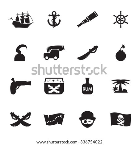 Vector black pirate icon set on white background - stock vector