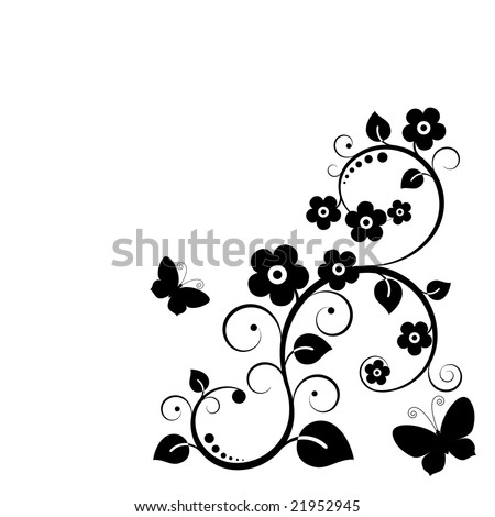 Vector. Black plant with flowers. - stock vector