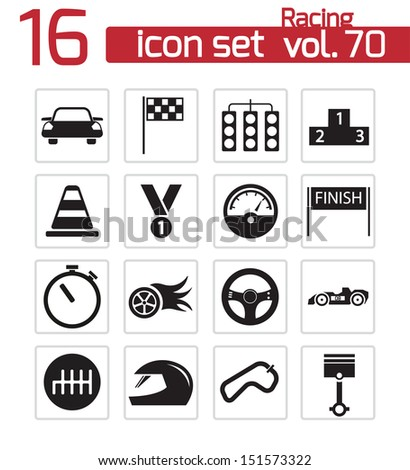 Vector black racing icons set - stock vector
