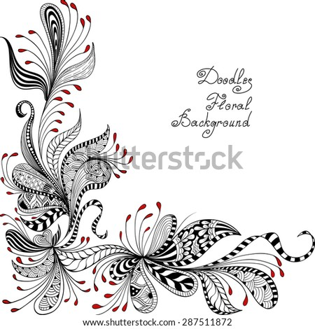 vector black, red and white floral pattern of spirals, swirls, doodles - stock vector