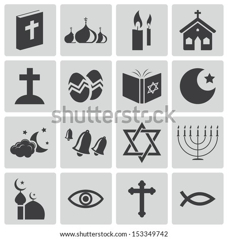 Vector black  religion icons set - stock vector