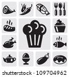 vector black restaurant icons set on gray background - stock vector
