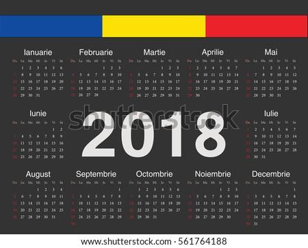 Vector Black Romanian Circle Calendar 2018 Stock Vector 561764188 ...