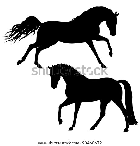 vector 2 black running horses - stock vector