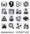vector black science icon set on gray - stock photo