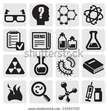 vector black science icon set on gray - stock vector