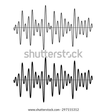 vector black seamless sinusoidal sound wave lines - stock vector