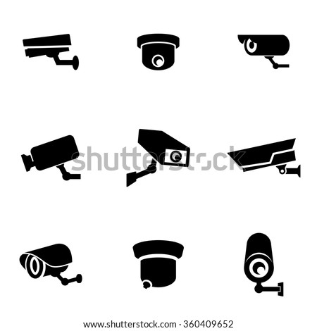 Vector black security camera icon set. - stock vector