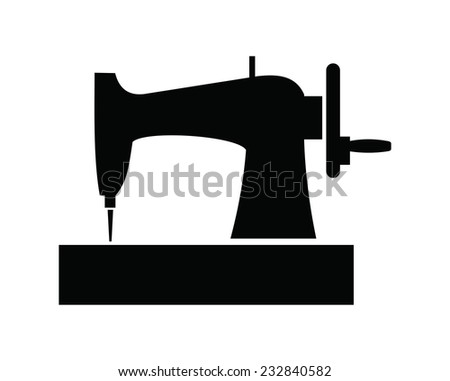 vector black Sewing machine icon on white background - stock vector