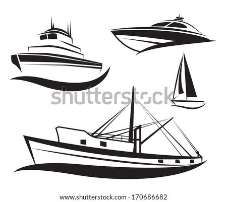 Vector black ship and boat icons set.  - stock vector