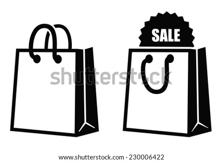 vector black Shopping bag icon on white background