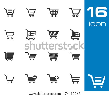 Vector black shopping cart icons set on white background - stock vector