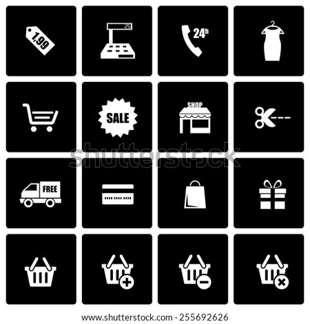 Vector black shopping icon set on black background