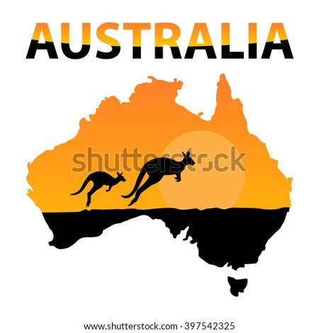 Vector Black Silhouette Kangaroo On Map Stock Vector - Australia map kangaroo