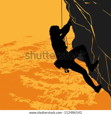 Vector black silhouette of a rock climber on a sunset background - stock vector