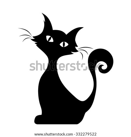 Vector black silhouette of a sitting cat. - stock vector