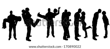 Vector black silhouette of family on white background - stock vector