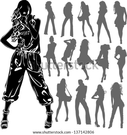 Vector black silhouettes of beautiful woman isolated on white background - stock vector
